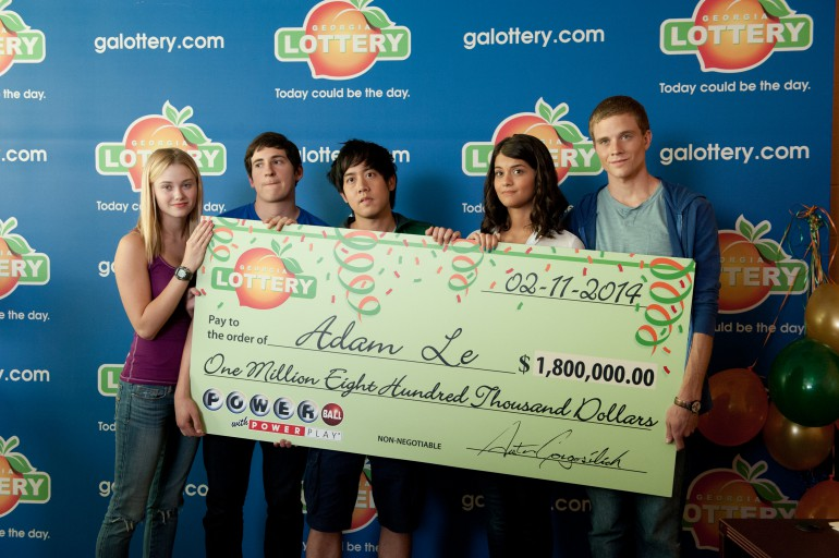 Left to right: Virginia Gardner is Christina Raskin, Sam Lerner is Quinn Goldberg, Allen Evangelista is Adam Le, Sofia Black D'Elia is Jessie Pierce, and Jonny Weston is David Raskin in PROJECT ALMANAC, from Insurge Pictures, in association with Michael Bay.