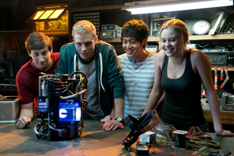 Left to right: Sam Lerner is Quinn Goldberg, Jonny Weston is David Raskin, Allen Evangelista is Adam Le, and Virginia Gardner is Christina Raskin in PROJECT ALMANAC, from Insurge Pictures, in association with Michael Bay.