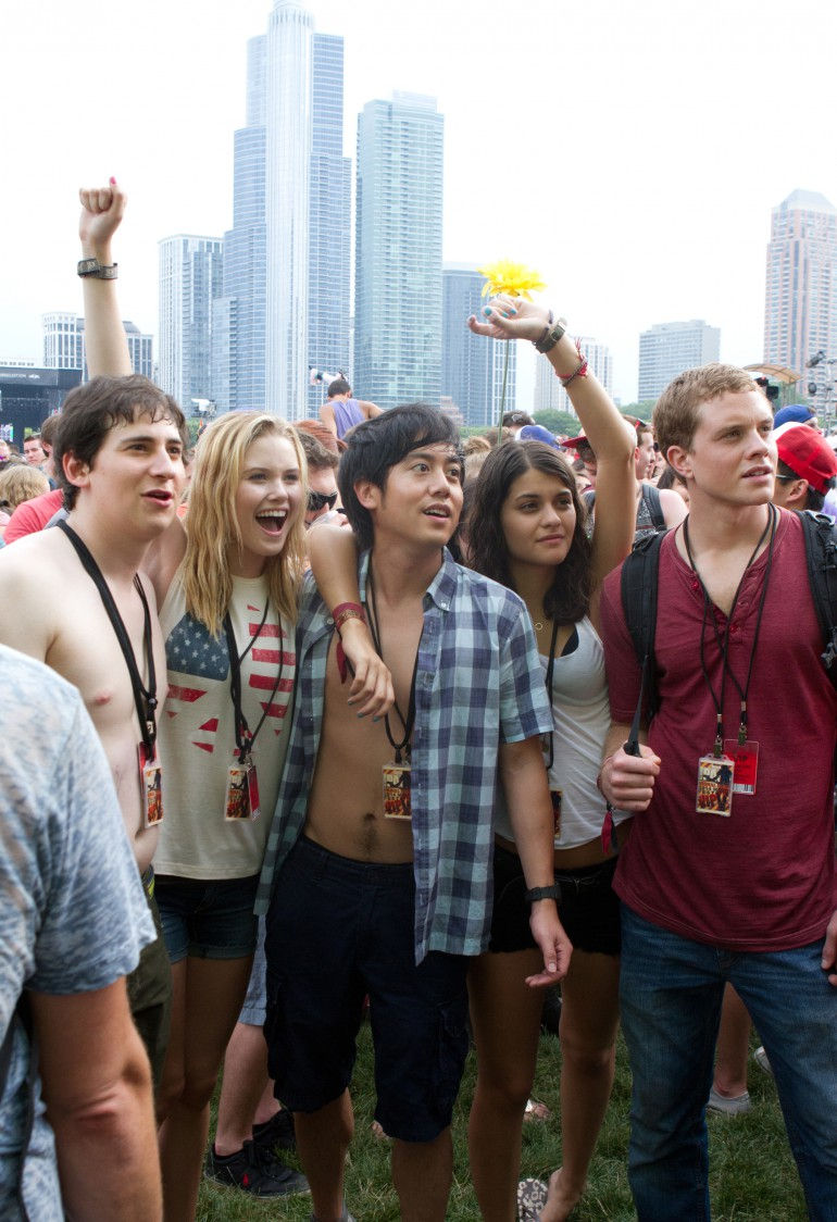 Left to right: Sam Lerner is Quinn Goldberg, Virginia Gardner is Christina Raskin, Allen Evangelista is Adam Le, Sofia Black D'Elia is Jessie Pierce, and Jonny Weston is David Raskin in PROJECT ALMANAC, from Insurge Pictures, in association with Michael Bay.